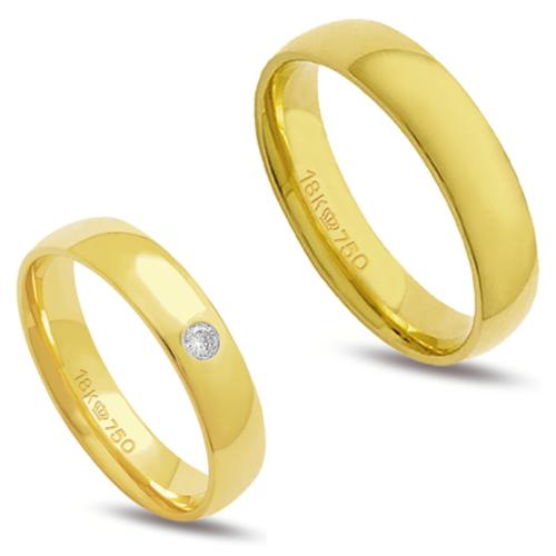 Par de alianças anatômica ouro 18k  1 diamante 4 pontos