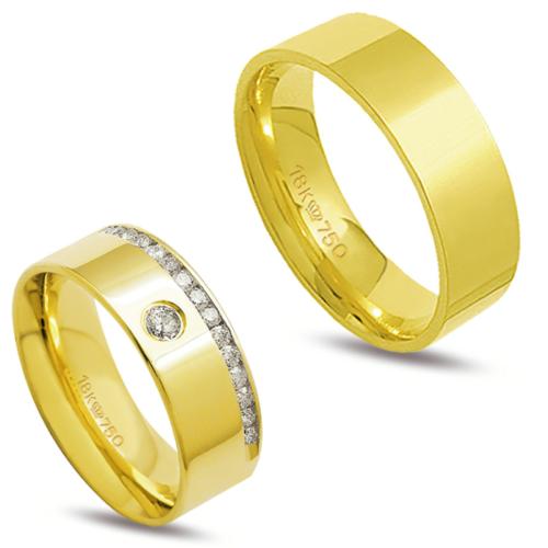 Par de alianças ouro 18k anatômica 15 diamantes de 2 ponto 1 de 5 pontos