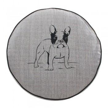 Almofada Futon Pet Redonda - Jacquard Cinza - Bulldog - Tam M