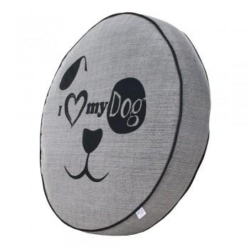 Almofada Futon Pet Redonda - Jacquard Cinza - My Dog - Tam M