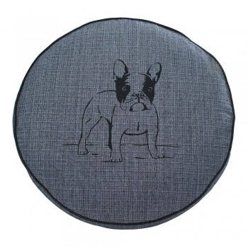 Almofada Futon Pet Redonda - Jacquard Jeans - Bulldog - Tam M
