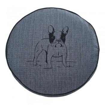 Almofada Futon Pet Redonda - Jacquard Jeans - Bulldog - Tam P