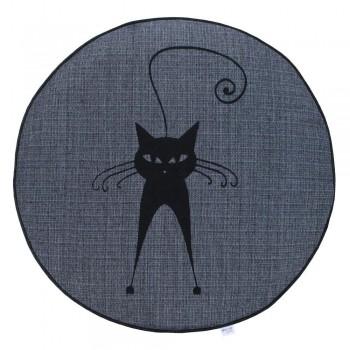 Almofada Futon Pet Redonda - Jacquard Jeans - Gato Esperto - Tam P