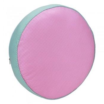 Almofada Futon Pet Redonda - Rosa e Verde Poá - Tam P