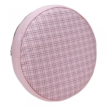 Almofada Futon Pet Redonda - Xadrez Rosê - Tam P