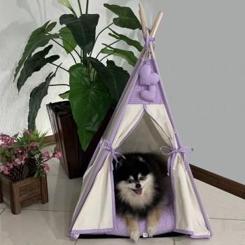Cabana Camping Pet - Algodão Cru e Lilás Poá - Tam Único