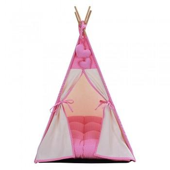 Cabana Camping Pet - Algodão Cru e Rosa Poá - Tam Único