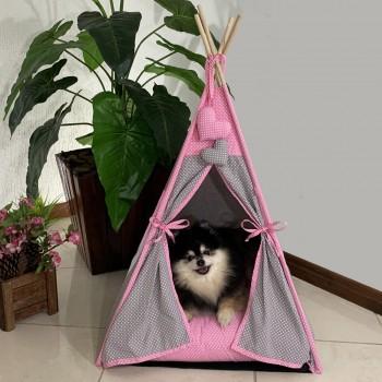 Cabana Camping Pet - Cinza e Rosa Poá - Tam Único
