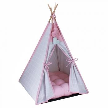 Cabana para Pet Camping - Grid Prata e Rosê - Amour Pet