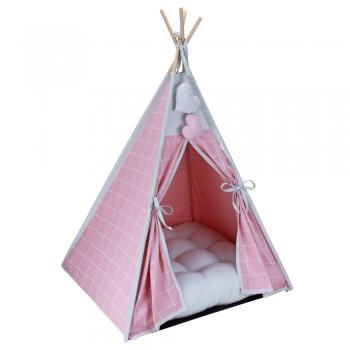 Cabana para Pet Camping - Grid Rosê e Prata - Amour Pet