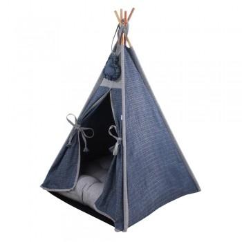 Cabana Camping Pet - Jacquard Jeans e Cinza - Tam Único
