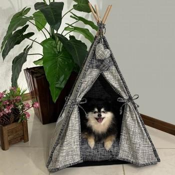 Cabana Camping Pet - Jacquard Riscado Cinza e Preta - Tam Único