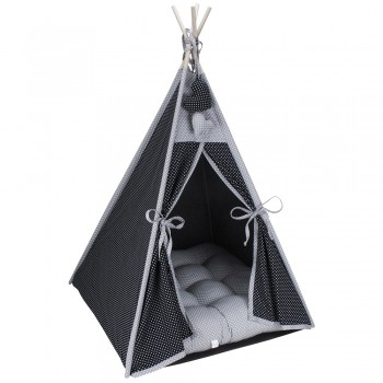 Cabana Camping Pet - Preto e Cinza Poá - Tam Único