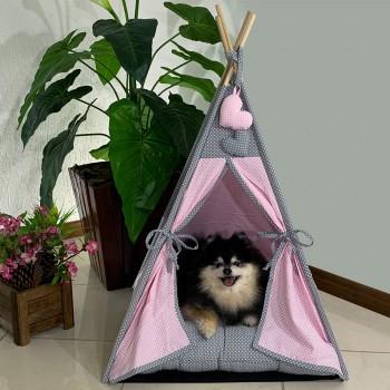 Cabana Camping Pet - Rosa Claro e Cinza Poá - Tam Único