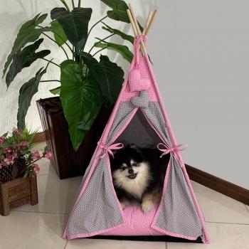 Cabana Para Pet Camping Amour Pet Poá Algodão 56x94Cm