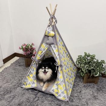 Cabana para Pet Camping - Geométrico Amarelo e Cinza  - Amour Pet