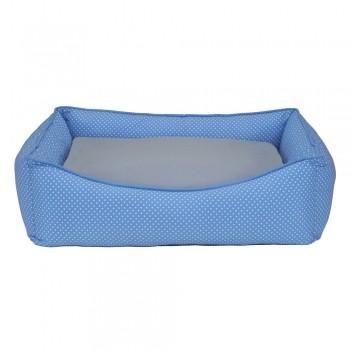 Cama Retangular Carinhosa - Azul e Cinza - Tam P