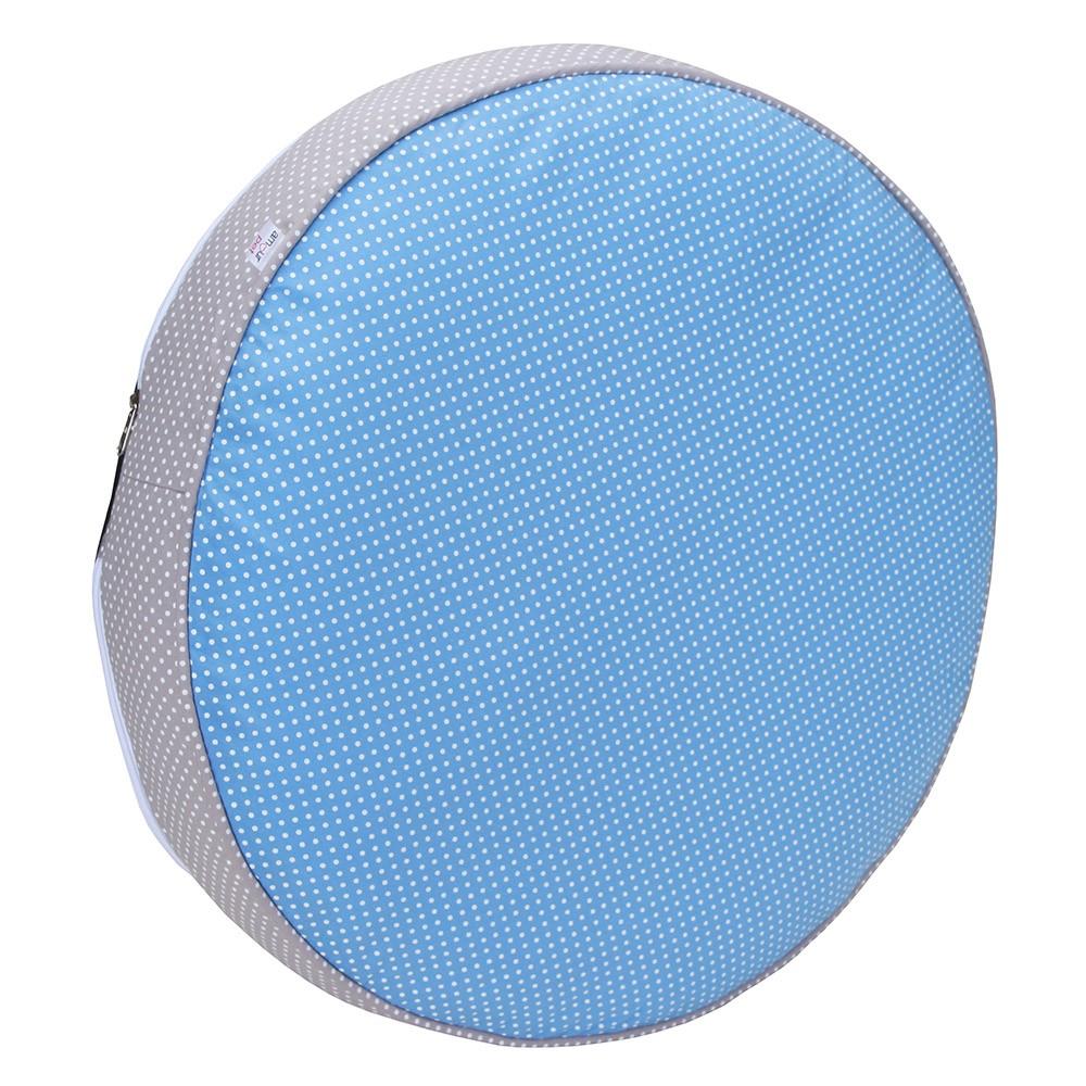 Almofada Futon Pet Redonda - Azul e Cinza Poá - Tam M