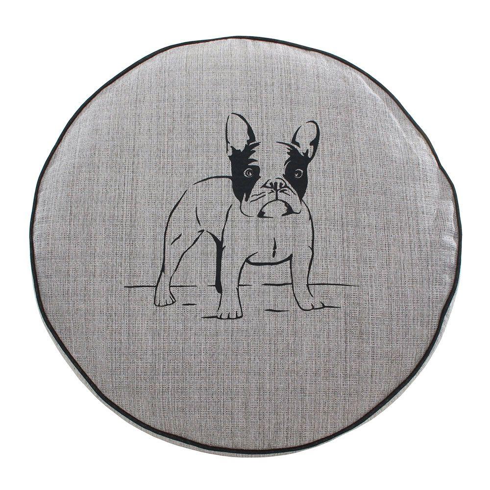 Almofada Futon Pet Redonda - Jacquard Cinza - Bulldog - Tam P