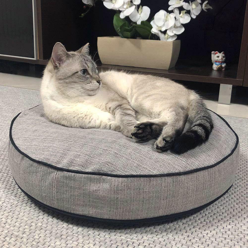 Almofada Futon Pet Redonda - Jacquard Cinza - Gato Esperto - Tam P