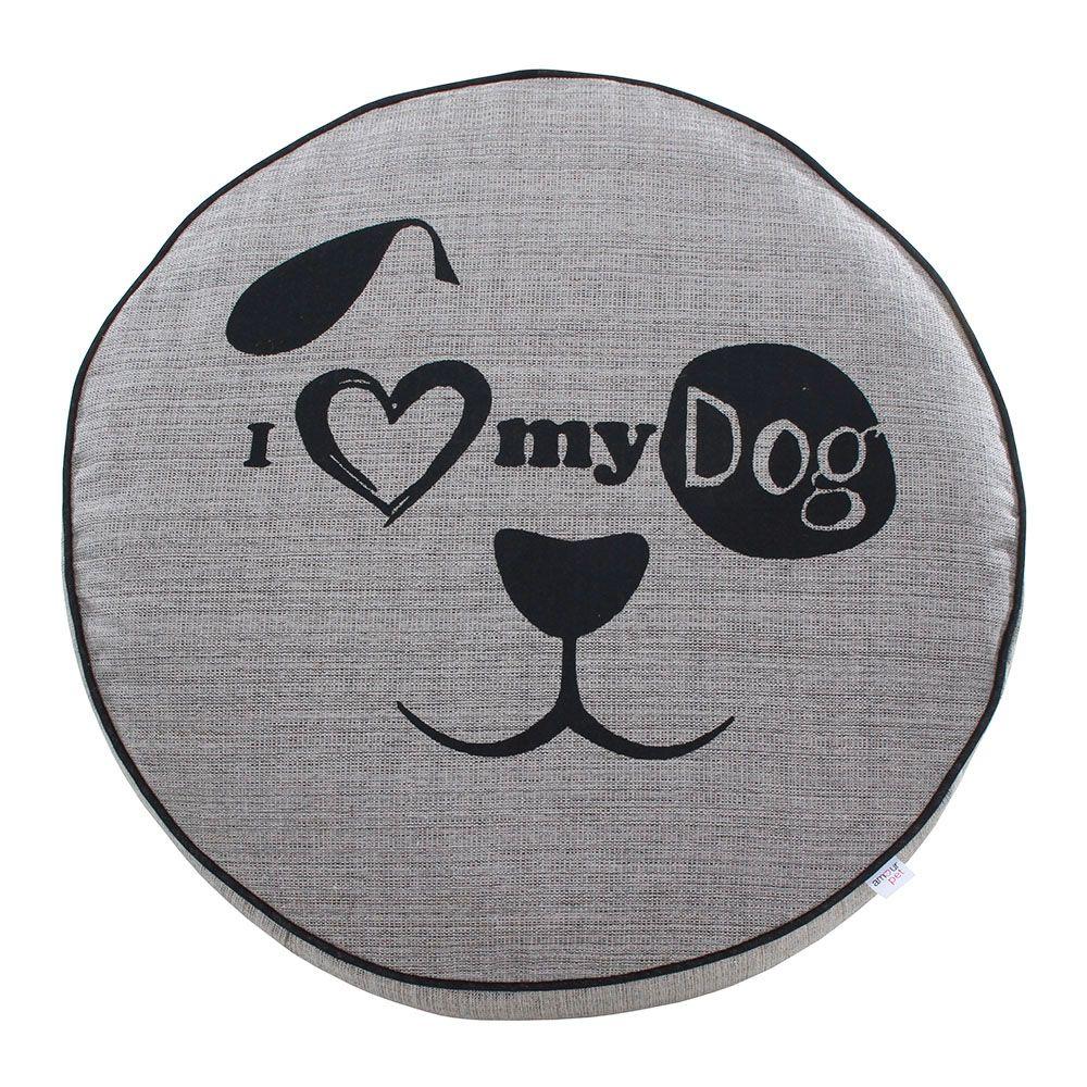 Almofada Futon Pet Redonda - Jacquard Cinza - My Dog - Tam P