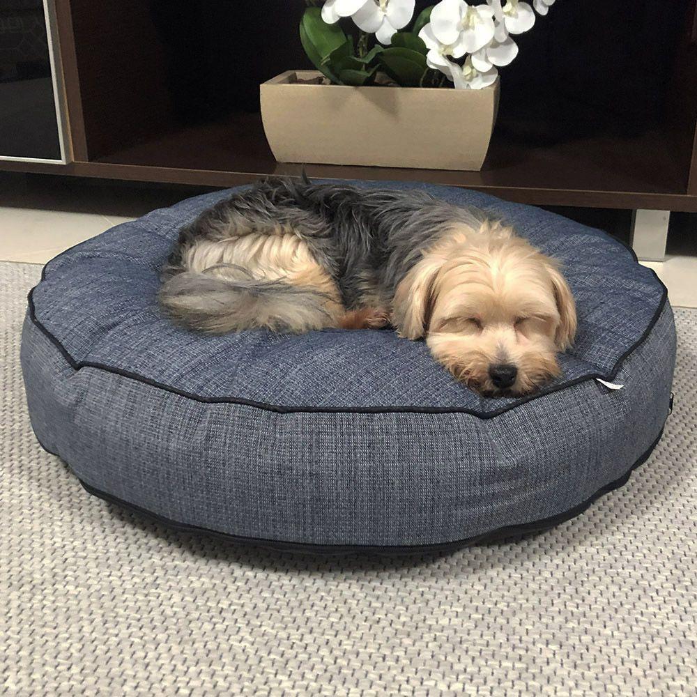 Almofada Futon Pet Redonda - Jacquard Jeans - My Dog - Tam M