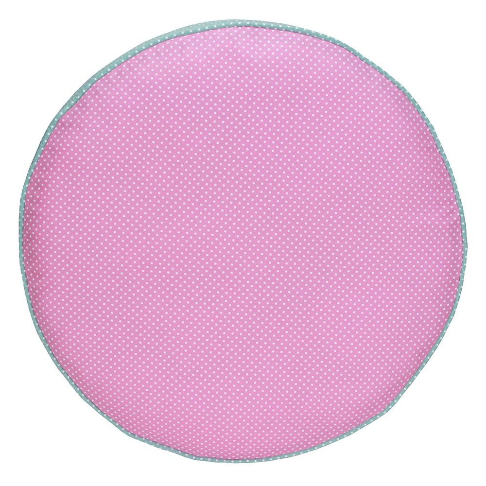 Almofada Futon Pet Redonda - Rosa e Verde Poá - Tam M
