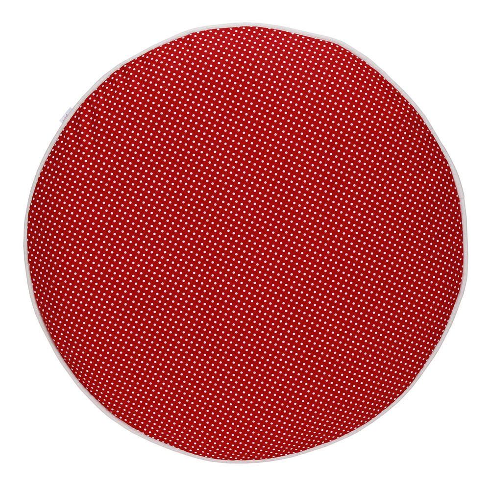 Almofada Futon Pet Redonda - Vermelho Poá e Algodão Cru - Tam M