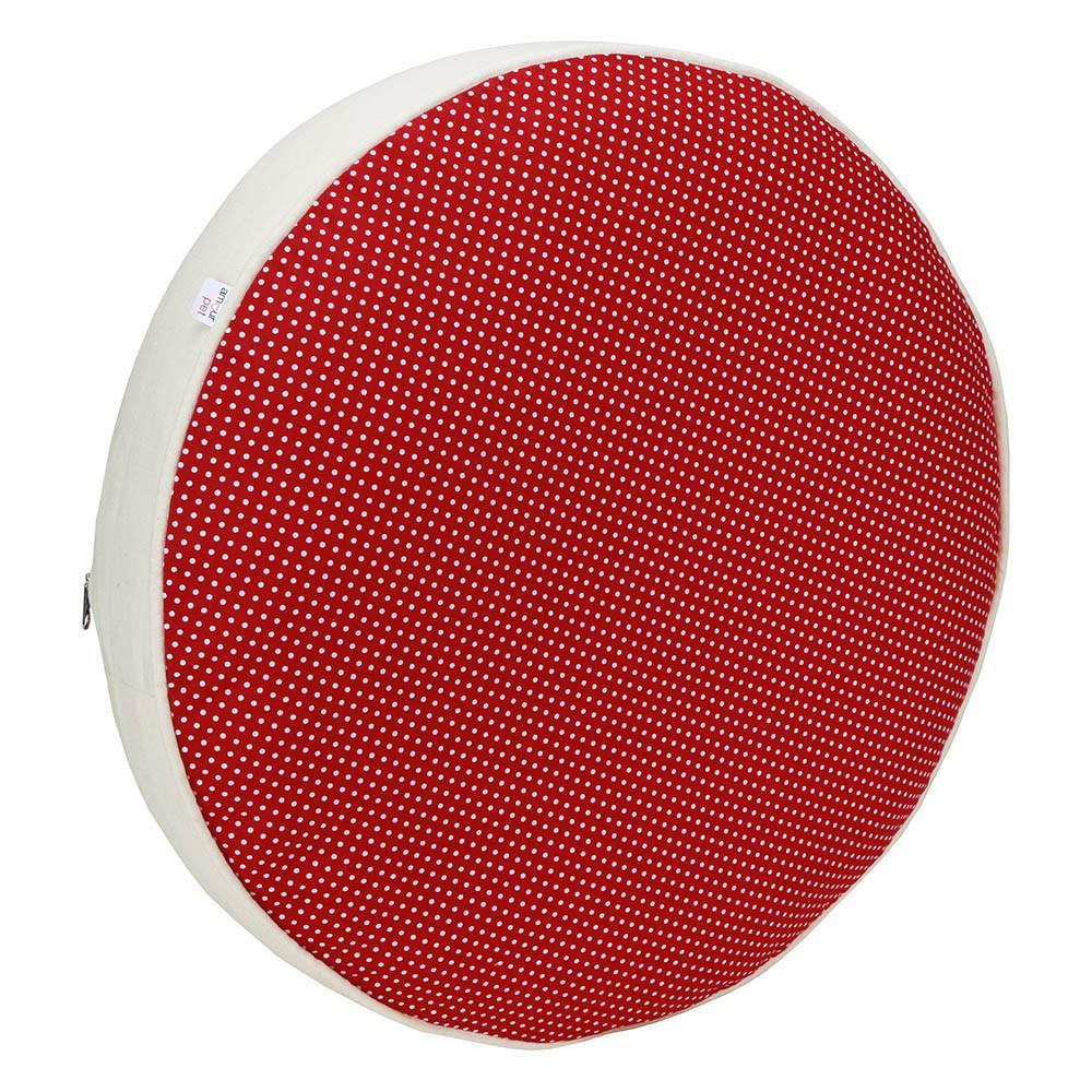 Almofada Futon Pet Redonda - Vermelho Poá e Algodão Cru - Tam P