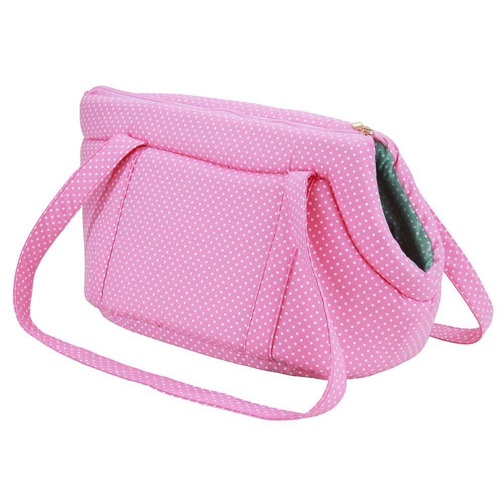 Bolsa De Transporte Passeio Pet - Rosa e Verde Poá - Tam P