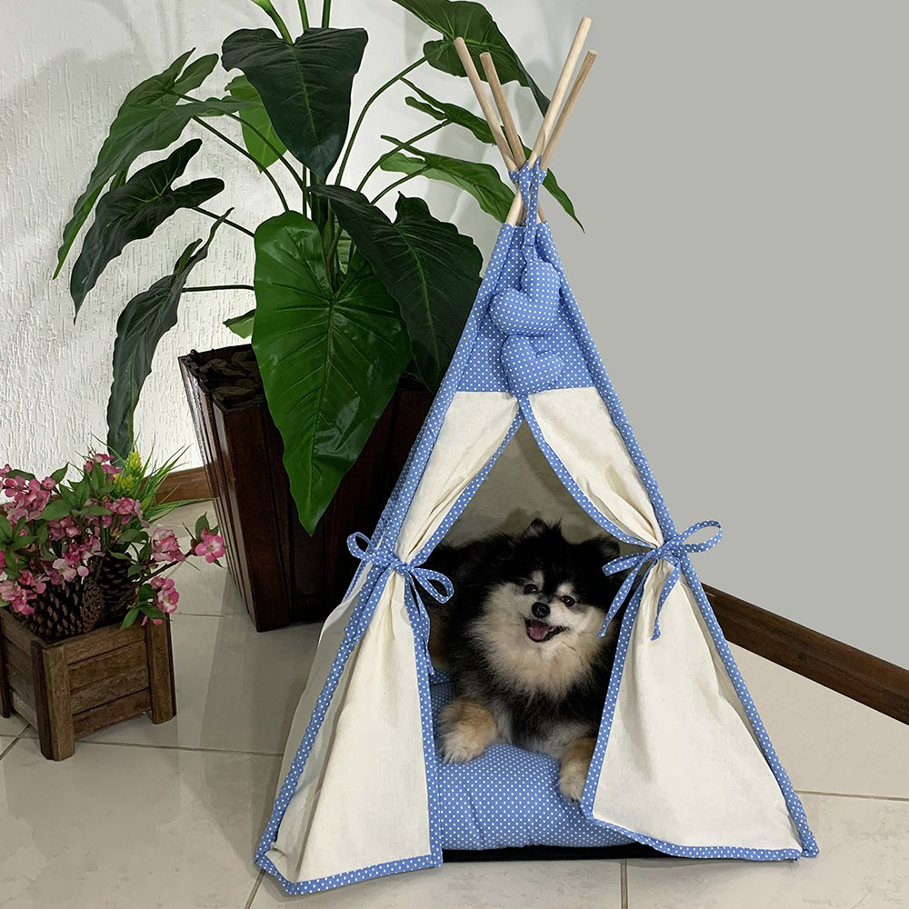 Cabana Camping Pet - Algodão Cru e Azul Poá - Tam Único