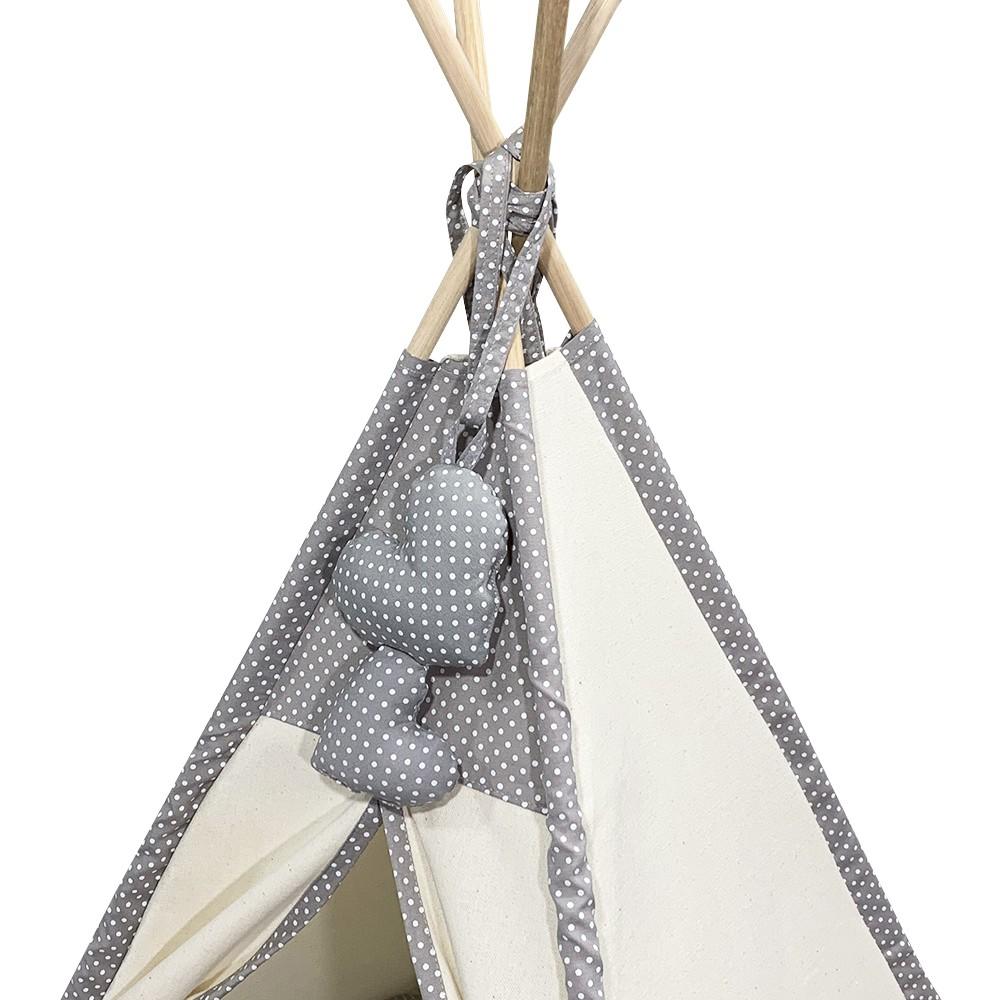 Cabana Camping Pet - Algodão Cru e Cinza Poá - Tam Único