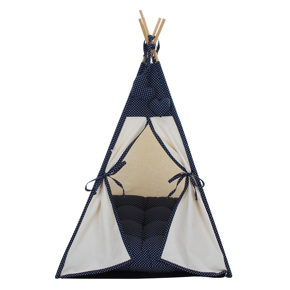 Cabana Camping Pet - Algodão Cru e Marinho Poá - Tam Único