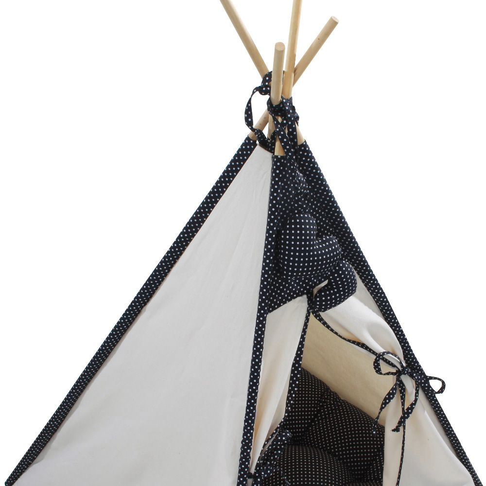 Cabana Camping Pet - Algodão Cru e Preto Poá - Tam Único