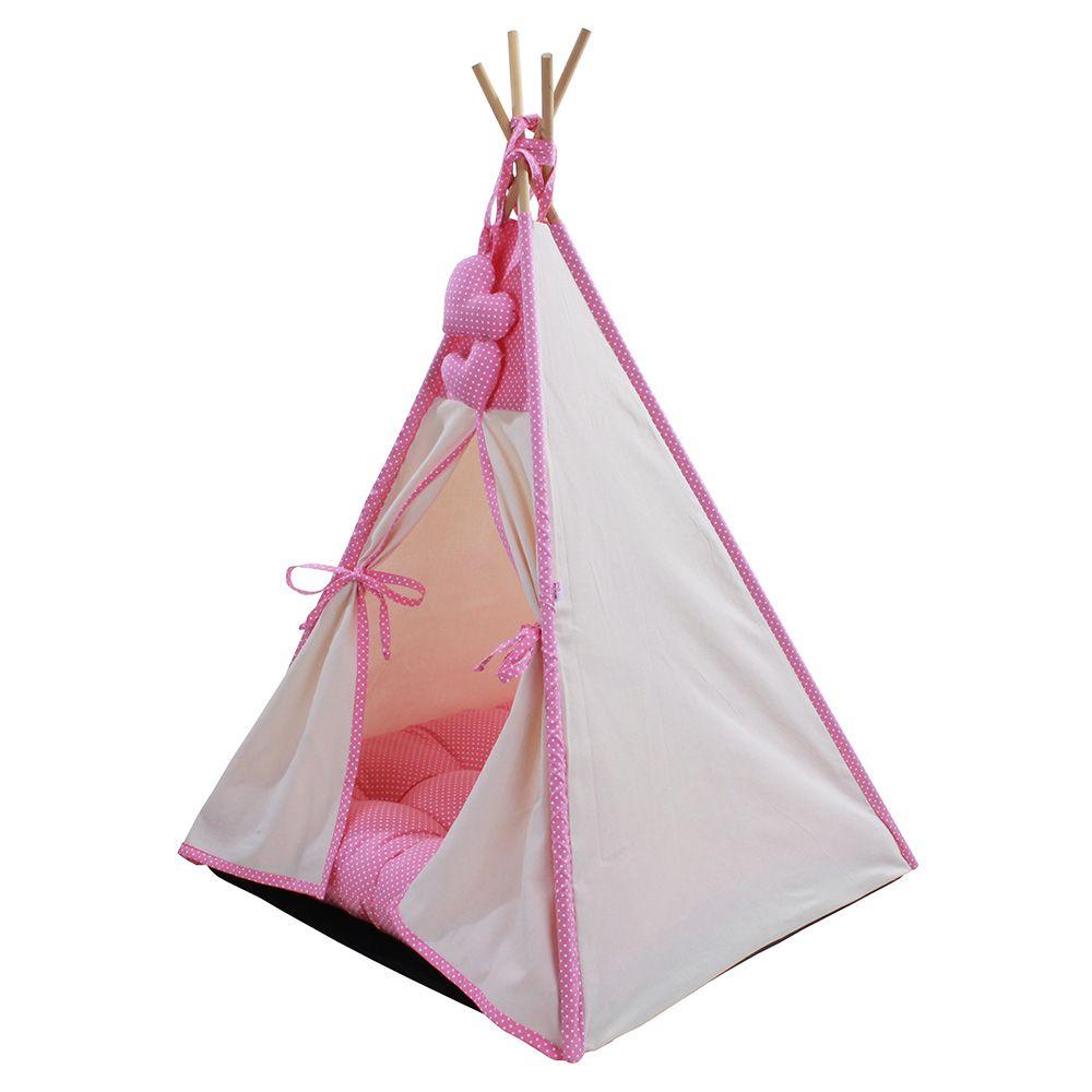 Cabana para Pet Camping - Algodão Cru e Rosa Poá - Tam Único
