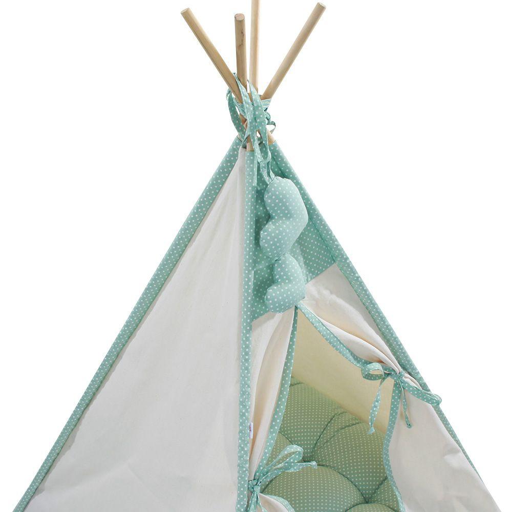 Cabana Camping Pet - Algodão Cru e Verde Poá - Tam Único