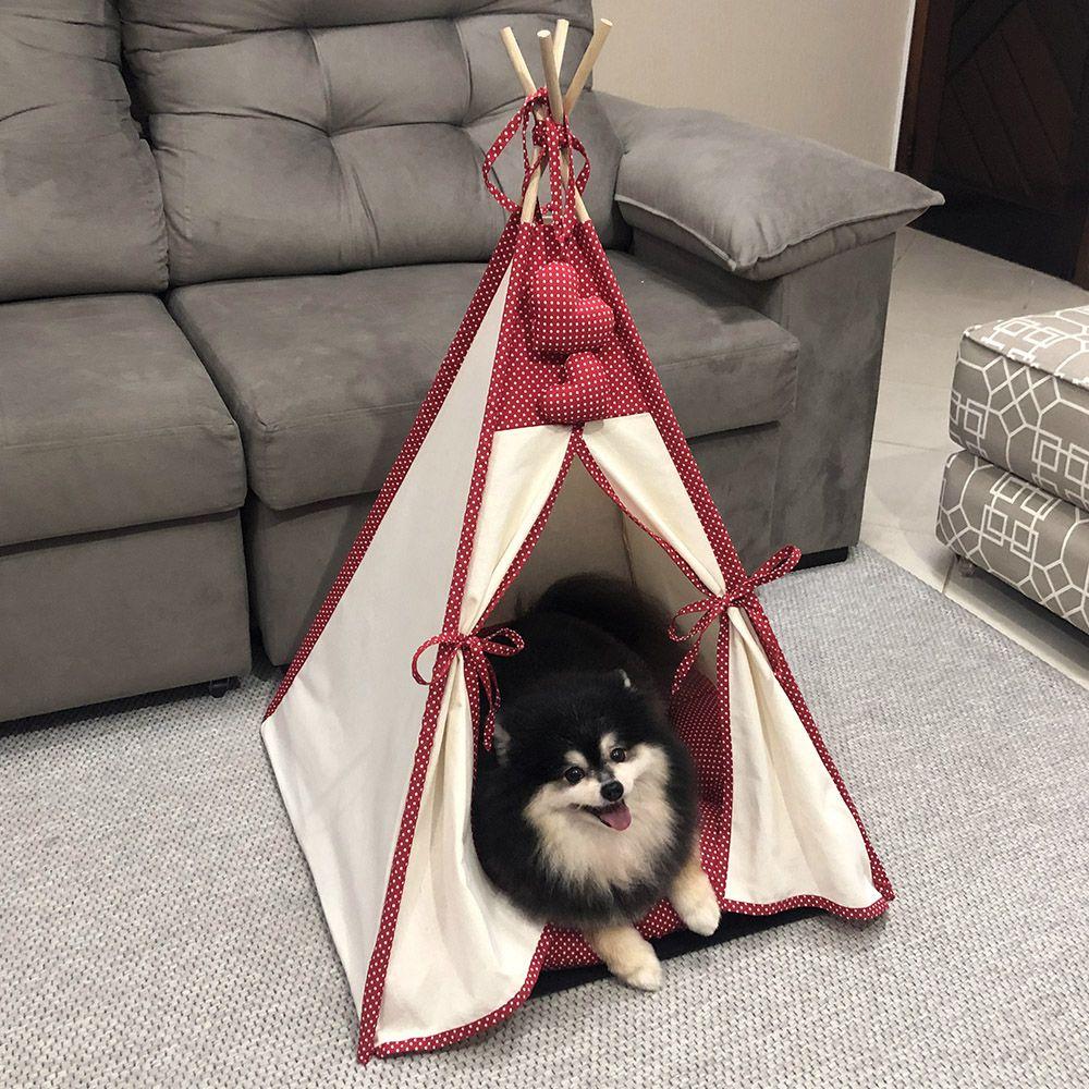 Cabana Camping Pet - Algodão Cru e Vermelho Poá - Tam Único