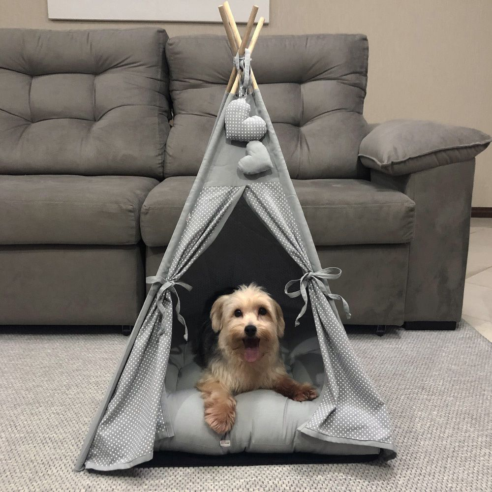 Cabana para Pet Camping - Cinza Poá - Tam Único