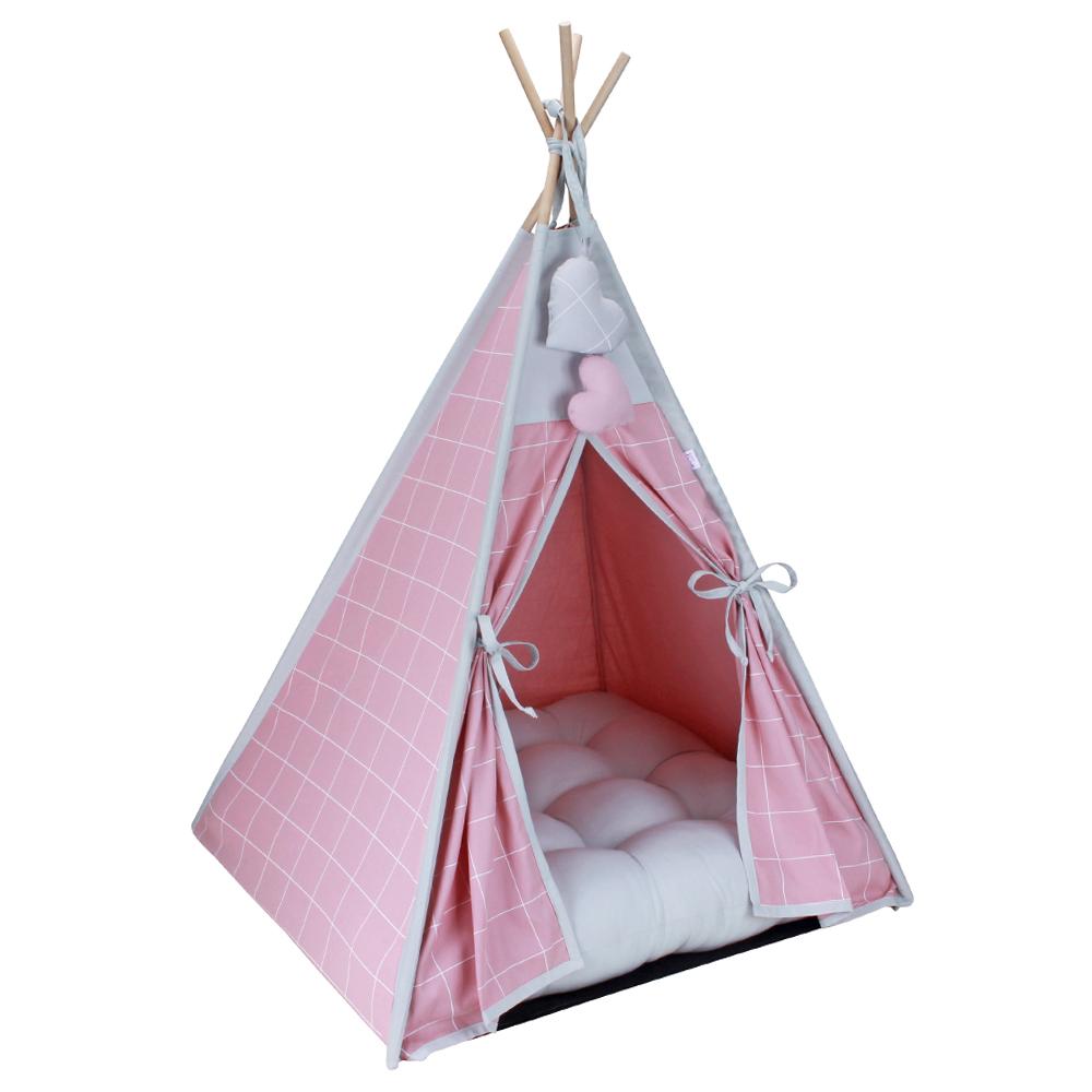 Cabana para Pet Camping - Grid Rosê e Prata - Tam Único