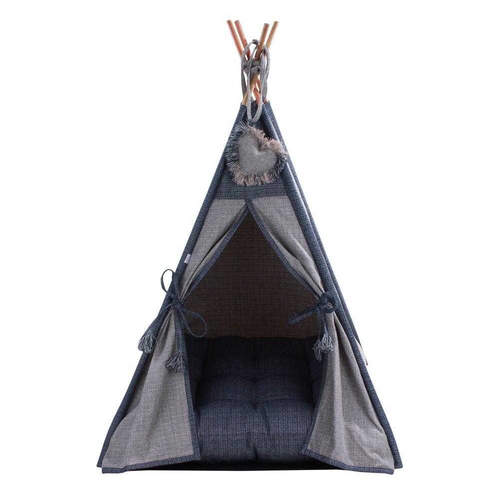 Cabana Camping Pet - Jacquard Cinza e Jeans - Tam Único