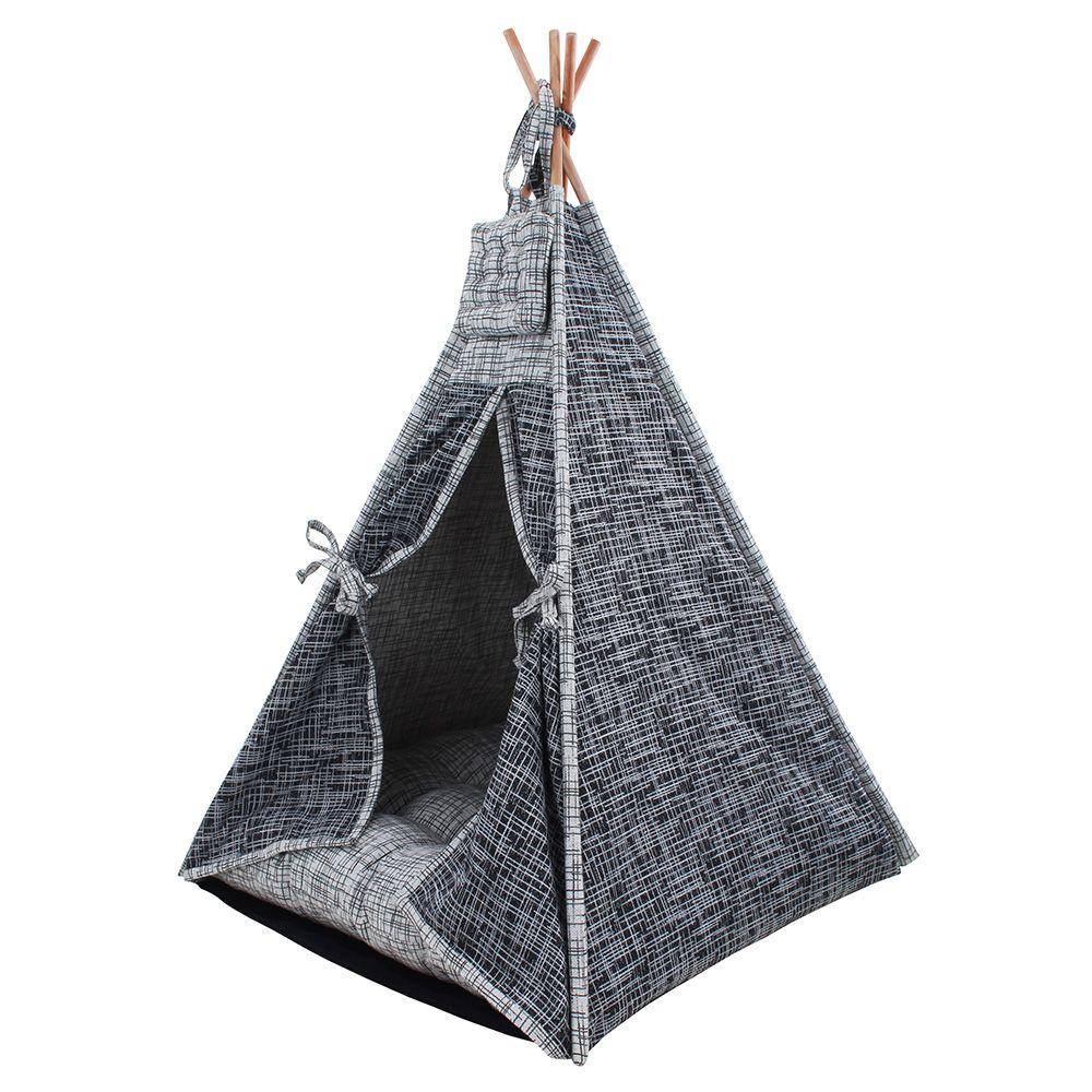 Cabana para Pet Camping - Jacquard Riscado Preta e Cinza - Amour Pet