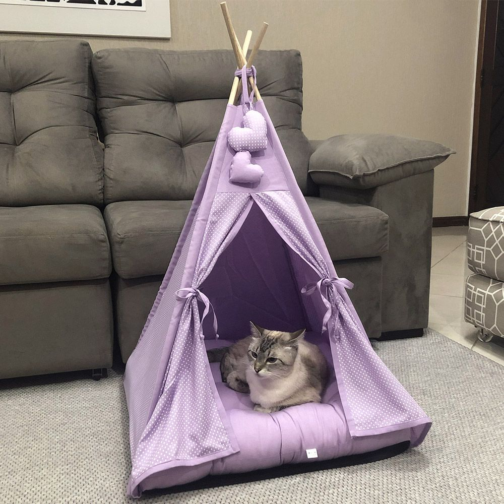 Cabana Camping Pet - Lilás Poá - Tam Único