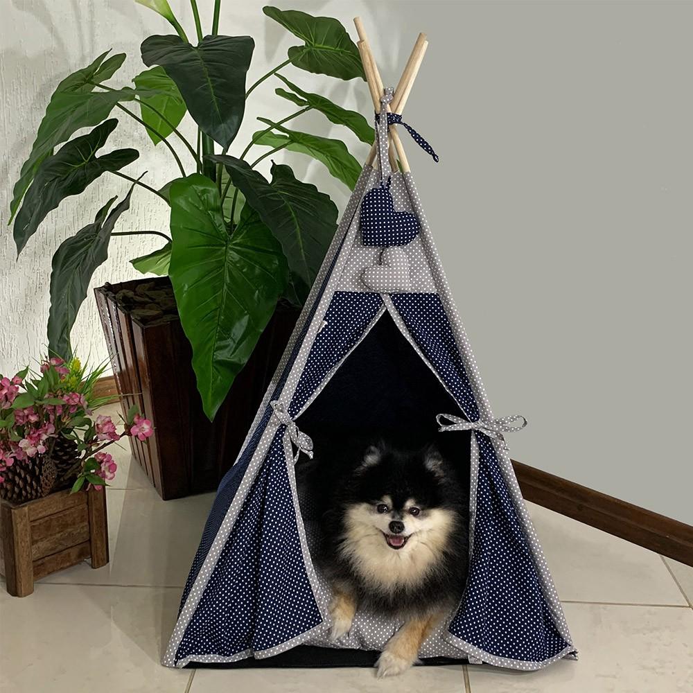 Cabana para Pet Camping - Marinho e Cinza Poá - Tam Único