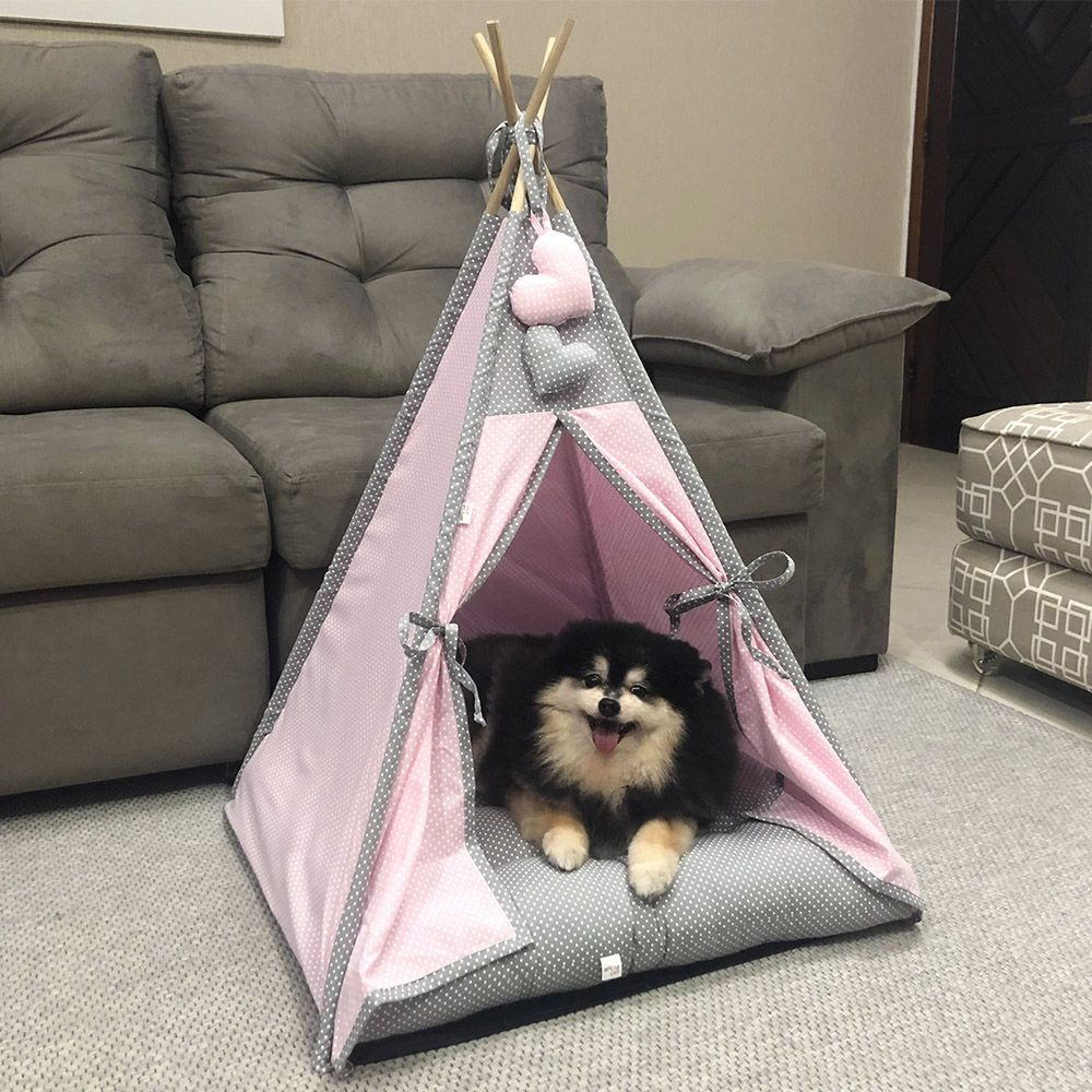 Cabana para Pet Camping - Rosa Claro e Cinza Poá - Amour Pet