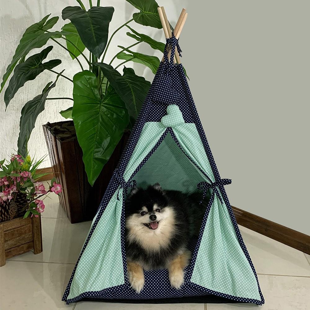 Cabana Camping Pet - Verde e Marinho Poá - Tam Único