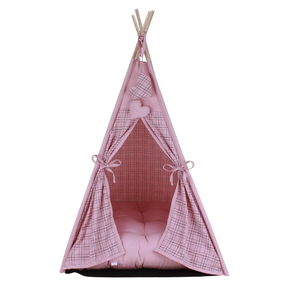 Cabana Camping Pet - Xadrez Rosê - Tam Único
