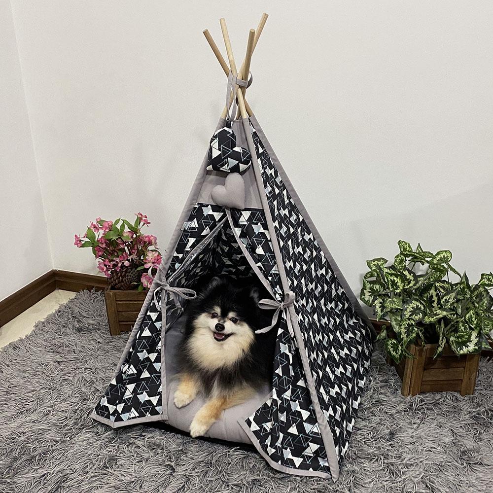 Cabana para Pet Camping - Geométrico Preto - Amour Pet