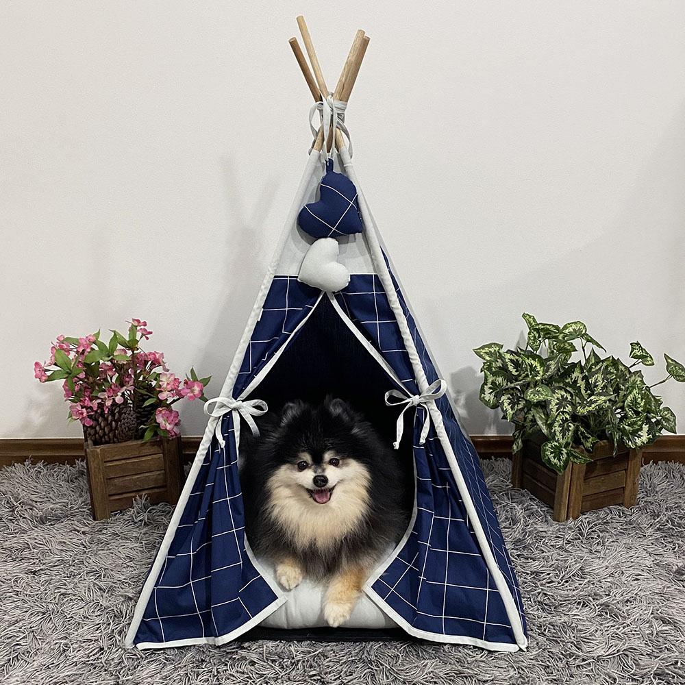 Cabana para Pet Camping - Grid Marinho - Amour Pet
