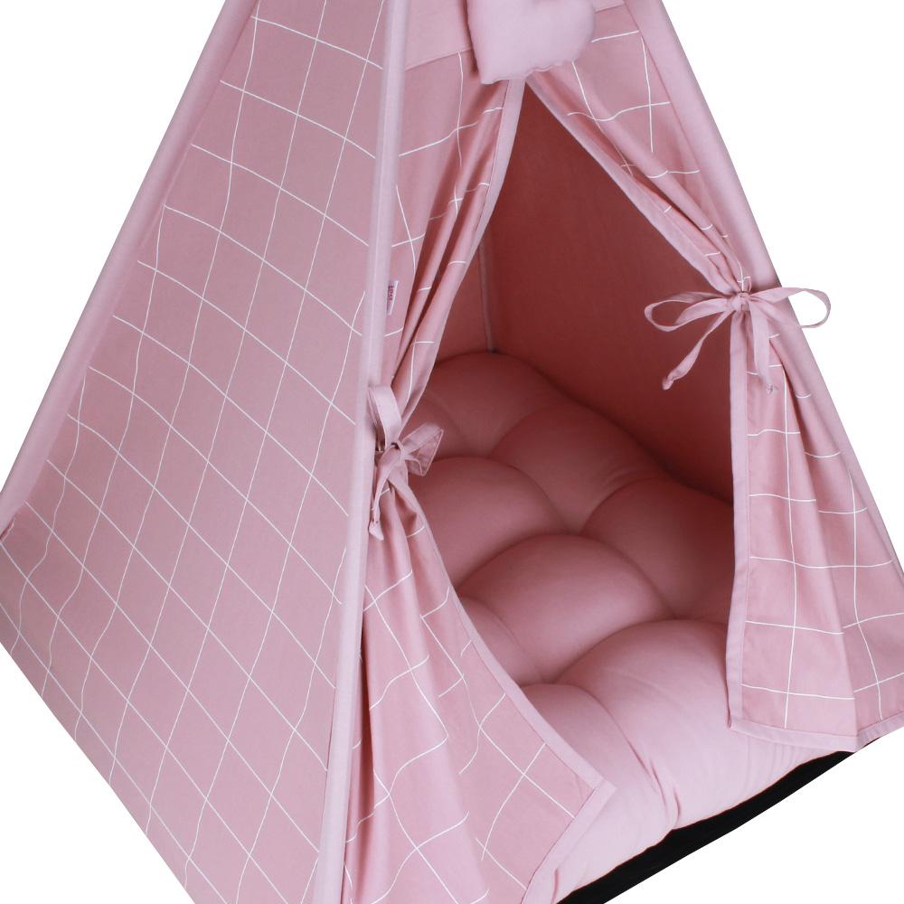 Cabana para Pet Camping - Grid Rosê - Amour Pet