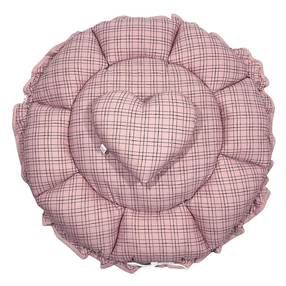 Cama Fuxico Pet - Xadrez Rosê - Tam Único